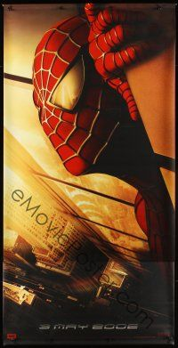 8r286 SPIDER-MAN vinyl banner '02 Tobey Maguire w/WTC towers in eyes, Marvel Comics!