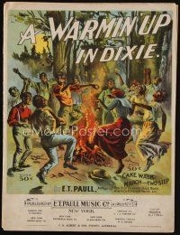 9a318 WARMIN' UP IN DIXIE sheet music 1899 great colorful art of black people dancing by campfire!