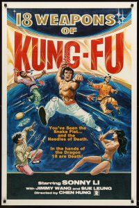 9k015 18 WEAPONS OF KUNG-FU 1sh '77 wild martial arts artwork + sexy near-naked girl!