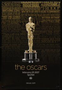 9k010 79TH ANNUAL ACADEMY AWARDS TV 1sh '07 cool image of Oscar statue & famous quotes!