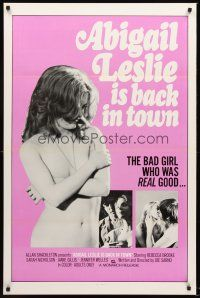 9k025 ABIGAIL LESLIE IS BACK IN TOWN 1sh '75 Joe Sarno, sexy topless Jennifer Jordan!