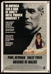 9k028 ABSENCE OF MALICE 1sh '81 Paul Newman, Sally Field, Sydney Pollack, cool design!