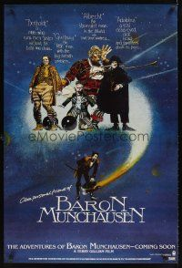9k035 ADVENTURES OF BARON MUNCHAUSEN teaser 1sh '88 directed by Terry Gilliam, great artwork!
