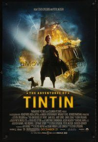 9k036 ADVENTURES OF TINTIN advance DS 1sh '11 Steven Spielberg's version of the Belgian comic!
