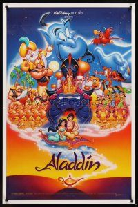 9k041 ALADDIN DS 1sh '92 classic Walt Disney Arabian fantasy cartoon, great art of cast!