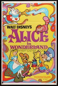9k043 ALICE IN WONDERLAND 1sh R81 Walt Disney Lewis Carroll classic, cool psychedelic art!