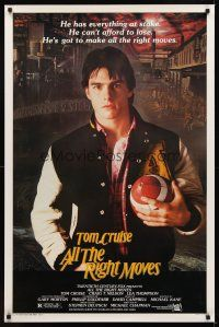 9k050 ALL THE RIGHT MOVES 1sh '83 close up of high school football player Tom Cruise!
