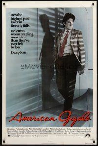 9k053 AMERICAN GIGOLO 1sh '80 handsomest male prostitute Richard Gere is being framed for murder!