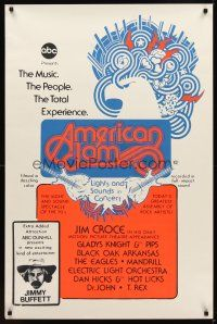 9k054 AMERICAN JAM 1sh '70s ABC music concert, cool artwork, Jimmy Buffett, ELO & Jim Croce!