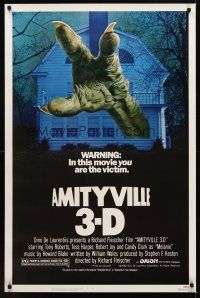9k055 AMITYVILLE 3D 1sh '83 cool 3-D image of huge monster hand reaching from house!