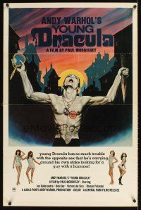 9k058 ANDY WARHOL'S DRACULA 1sh '74 Paul Morrissey, wild Emmet art of vampire Udo Kier in city!