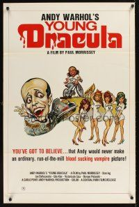 9k057 ANDY WARHOL'S DRACULA 1sh '74 different cartoon art of Young Dracula Udo Kier & sexy girls!