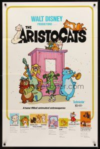 9k060 ARISTOCATS 1sh R80 Walt Disney feline jazz musical cartoon, great art of dancing cats!