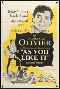 9k061 AS YOU LIKE IT 1sh R49 Sir Laurence Olivier in William Shakespeare's romantic comedy!