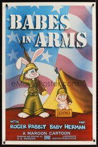 9k065 BABES IN ARMS Kilian 1sh '88 Roger Rabbit & Baby Herman in Army uniform with rifles!