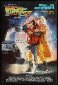 9k069 BACK TO THE FUTURE II 1sh '89 art of Michael J. Fox & Christopher Lloyd by Drew!