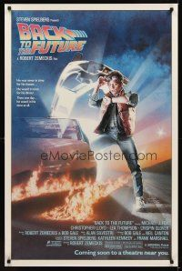 9k068 BACK TO THE FUTURE advance 1sh '85 Zemeckis, art of Michael J. Fox & Delorean by Drew Struzan!