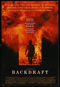 9k072 BACKDRAFT DS 1sh '91 firefighter Kurt Russell in blazing fire, directed by Ron Howard!