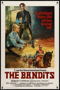9k073 BANDITS 1sh '79 art of Robert Conrad & Jan Michael Vincent in western action!