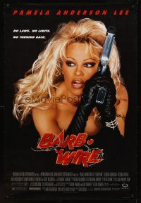 9k075 BARB-WIRE DS 1sh '96 sexiest comic book hero Pamela Anderson in title role w/gun!