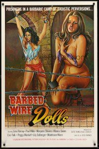 9k074 BARBED WIRE DOLLS 1sh '77 Jesus Franco, sexy art of barely-clothed female prisoners!
