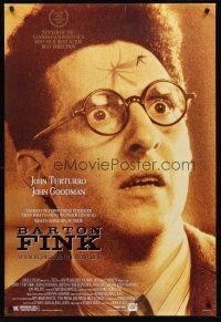 9k076 BARTON FINK DS 1sh '91 Coen Brothers, wacky c/u of John Turturro with mosquito on forehead!