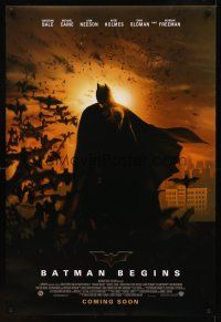 9k081 BATMAN BEGINS coming soon advance DS 1sh '05 Christian Bale as the Caped Crusader!