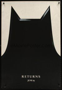 9k082 BATMAN RETURNS teaser 1sh '92 Tim Burton, cool close-up design of bat cowl!