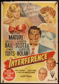 9p388 EASY LIVING Aust 1sh '49 stone litho art of Lucille Ball, Victor Mature, Lizabeth Scott!