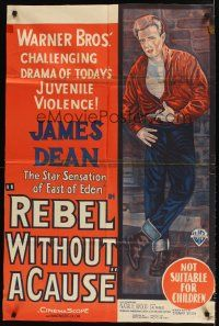 9p405 REBEL WITHOUT A CAUSE Aust 1sh R50s Nicholas Ray, drama of juvenile violence, James Dean!