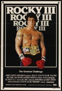 9p406 ROCKY III Aust 1sh '82 great image of boxer & director Sylvester Stallone w/gloves & belt!