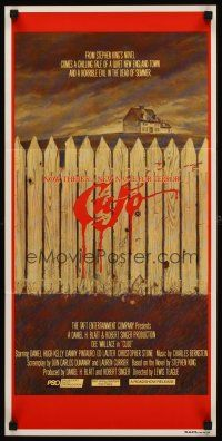 9p576 CUJO Aust daybill '83 Stephen King, artwork of bloody fence & house by Robert Tanenbaum!