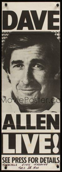 9p581 DAVE ALLEN LIVE Aust daybill '70s great image of the Irish comedian!