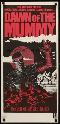 9p583 DAWN OF THE MUMMY Aust daybill '81 cool artwork of the undead rising from the desert ground!