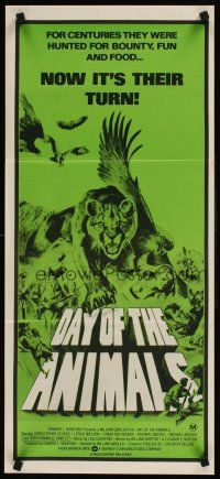 9p584 DAY OF THE ANIMALS Aust daybill '77 wildlife revenge more shocking than The Birds, great art!