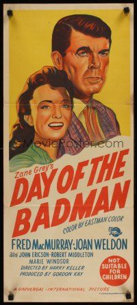 9p585 DAY OF THE BADMAN Aust daybill '58 art of gunman Fred MacMurray, Joan Weldon!