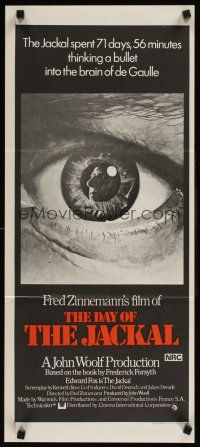 9p586 DAY OF THE JACKAL Aust daybill '73 Fred Zinnemann assassination classic, best eyeball art!