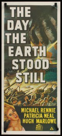 9p587 DAY THE EARTH STOOD STILL Aust daybill R70s Wise, classic art of Gort holding Patricia Neal!