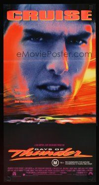 9p588 DAYS OF THUNDER Aust daybill '90 close image of angry NASCAR race car driver Tom Cruise!