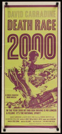 9p591 DEATH RACE 2000 Aust daybill '75 hit & run is no longer a felony, it's a national sport!