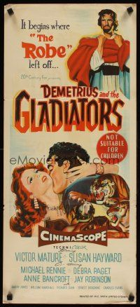 9p597 DEMETRIUS & THE GLADIATORS Aust daybill '54 art of Biblical Victor Mature & Susan Hayward!