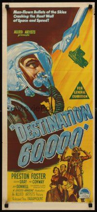 9p598 DESTINATION 60,000 Aust daybill '57 Preston Foster, Richardson Studio art, bullets of skies!
