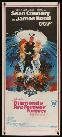 9p600 DIAMONDS ARE FOREVER Aust daybill '71 art of Sean Connery as James Bond by Robert McGinnis!