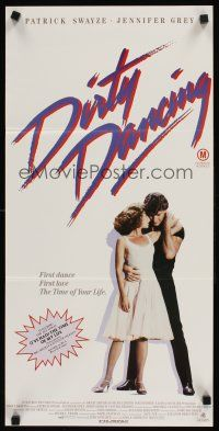 9p601 DIRTY DANCING Aust daybill '87 romantic image of Patrick Swayze & Jennifer Grey dancing!