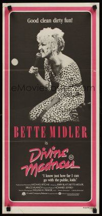 9p602 DIVINE MADNESS Aust daybill '80 image of Bette Midler, good clean dirty fun!