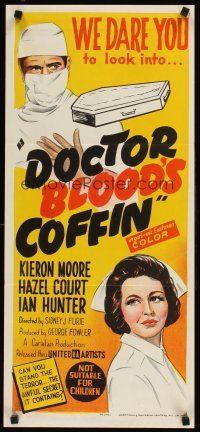 9p603 DOCTOR BLOOD'S COFFIN Aust daybill '61 cool art of Kieron Moore, sexy Hazel Court!