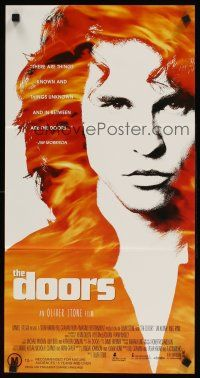 9p605 DOORS Aust daybill '91 cool image of Val Kilmer as Jim Morrison, directed by Oliver Stone!