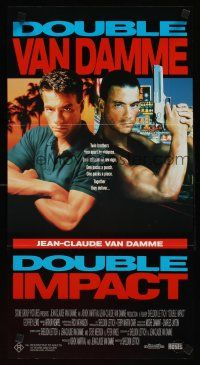 9p606 DOUBLE IMPACT Aust daybill '91 Jean-Claude Van Damme in a dual role as twins!