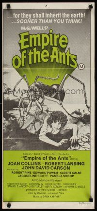 9p611 EMPIRE OF THE ANTS Aust daybill '78 H.G. Wells, great Drew art of monster attacking!