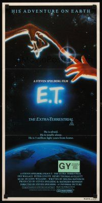 9p608 E.T. THE EXTRA TERRESTRIAL Aust daybill '82 Steven Spielberg, great John Alvin artwork!